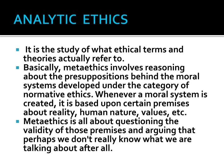 ANALYTIC  ETHICS