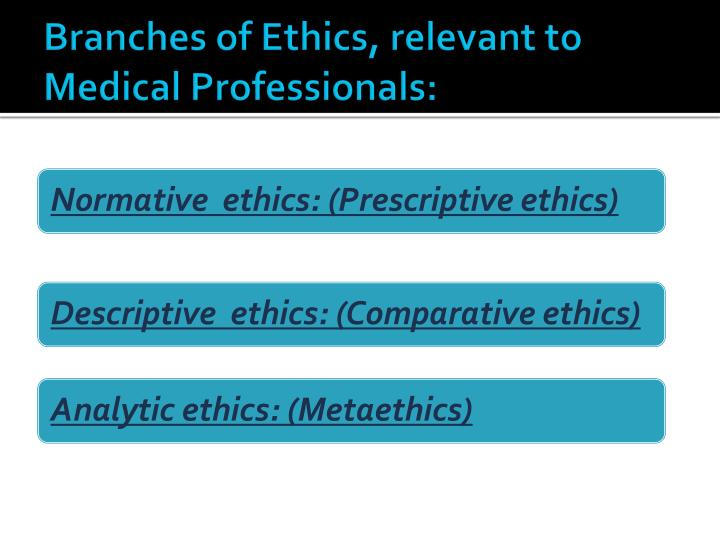 Branches of Ethics, relevant to Medical Professionals:
