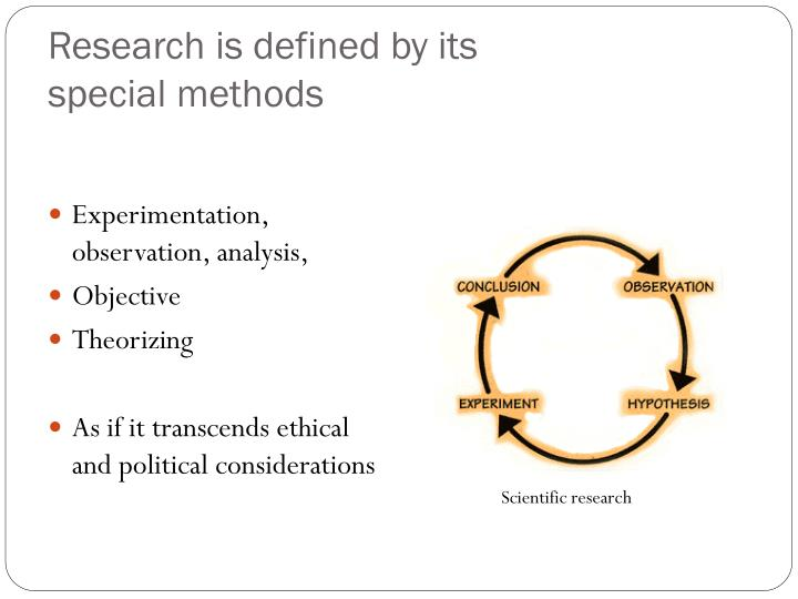 Research is defined by its