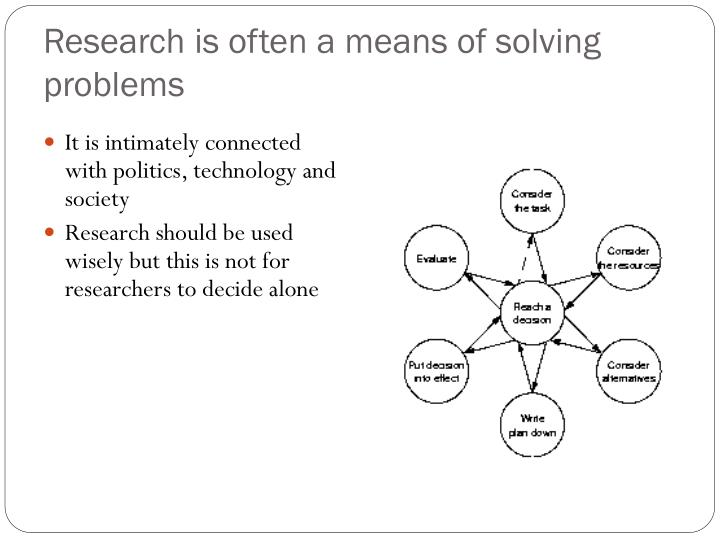 Research is often a means of solving problems