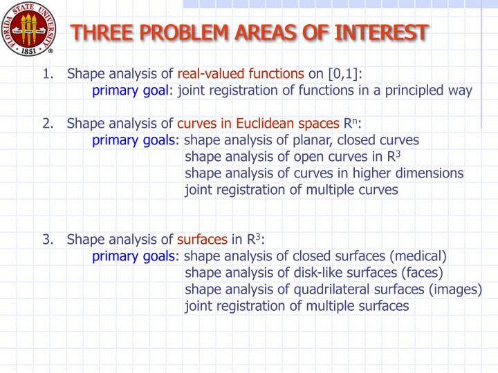 THREE PROBLEM AREAS OF INTEREST