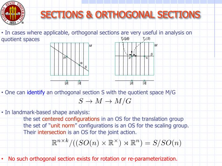 SECTIONS & ORTHOGONAL SECTIONS