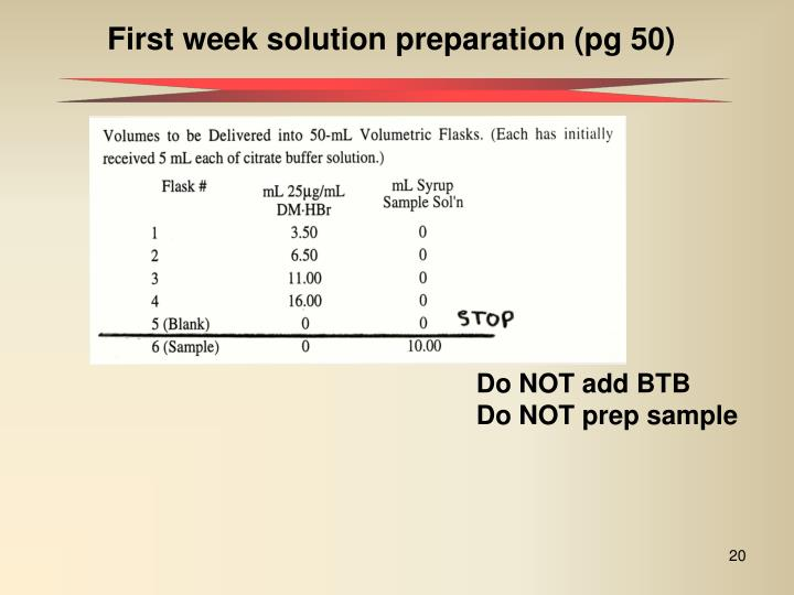 First week solution preparation (pg 50)
