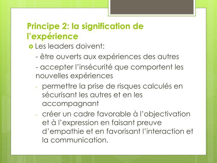 Principe 2: la signification de l'expérience