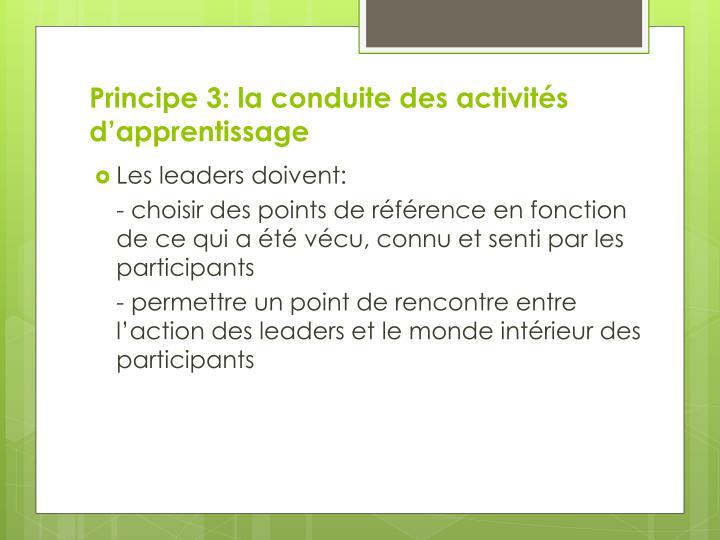 Principe 3: la conduite des activités d'apprentissage