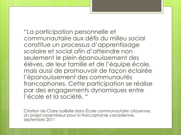"""""""La participation"""