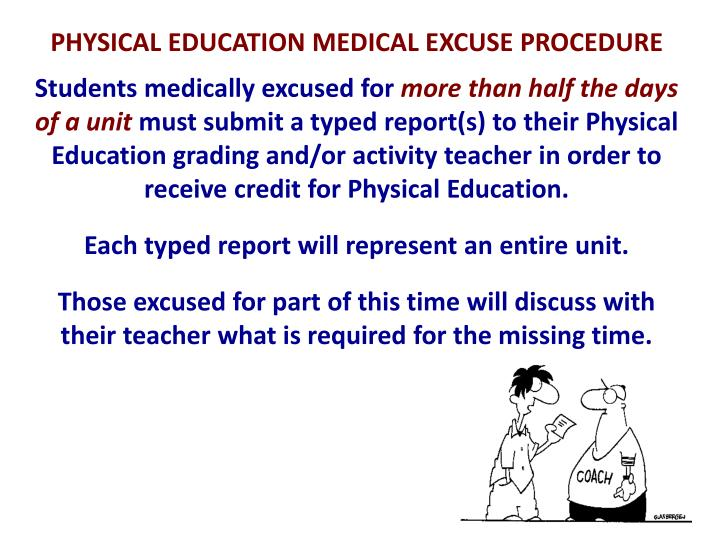 PHYSICAL EDUCATION MEDICAL EXCUSE