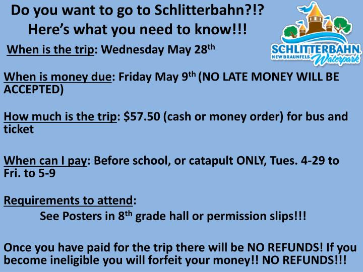 Do you want to go to Schlitterbahn?!?
