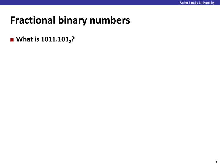 Fractional binary numbers