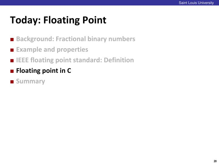 Today: Floating Point