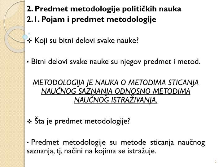 2. Predmet metodologije političkih nauka