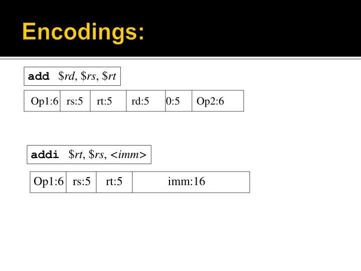 Encodings: