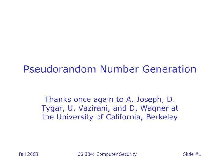 Pseudorandom number generation