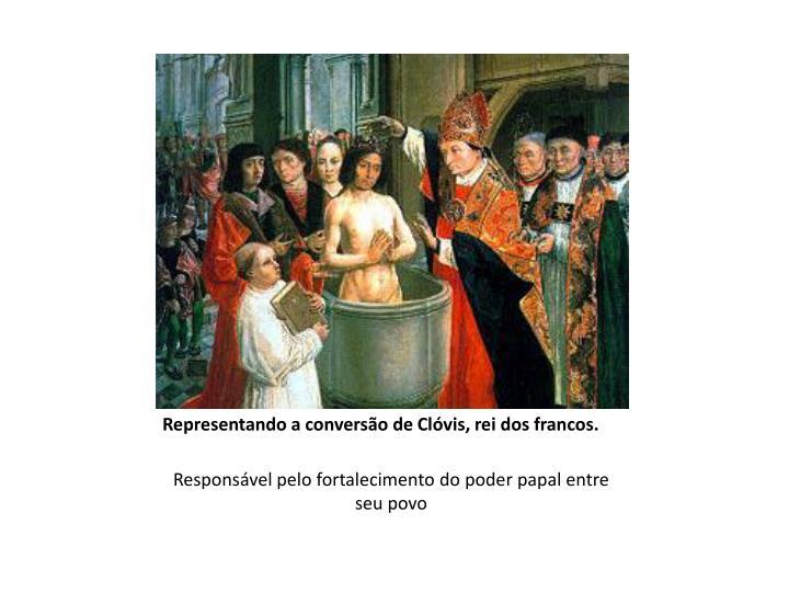 Representando a conversão de Clóvis, rei dos francos.