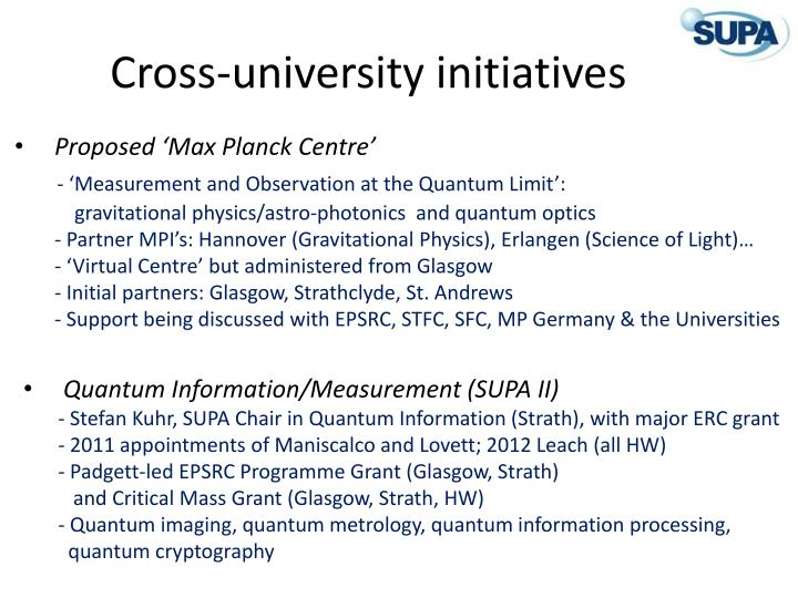 Cross-university initiatives