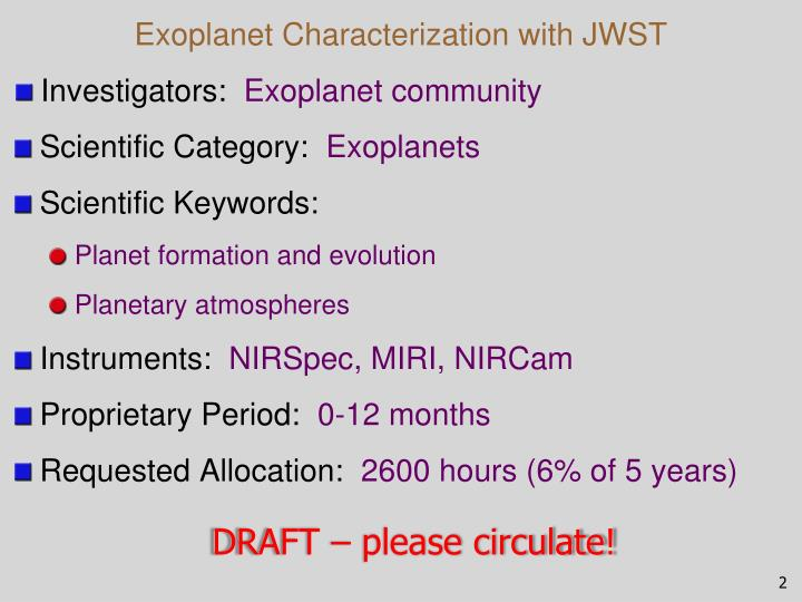 Exoplanet characterization with jwst
