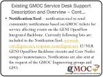 existing gmoc service desk support description and overview cont