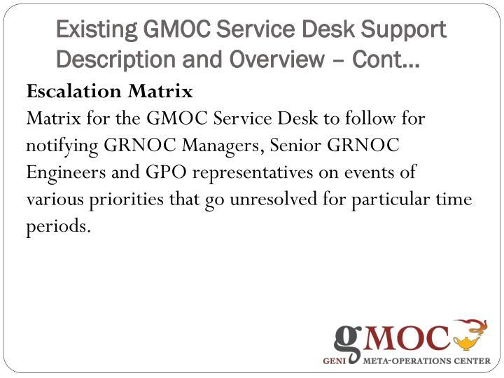 Existing GMOC Service Desk Support Description and