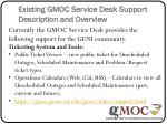 existing gmoc service desk support description and overview
