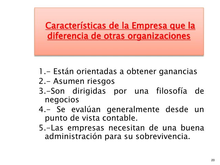 Características de la Empresa que la diferencia de otras organizaciones