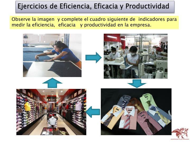 Ejercicios de Eficiencia, Eficacia y Productividad