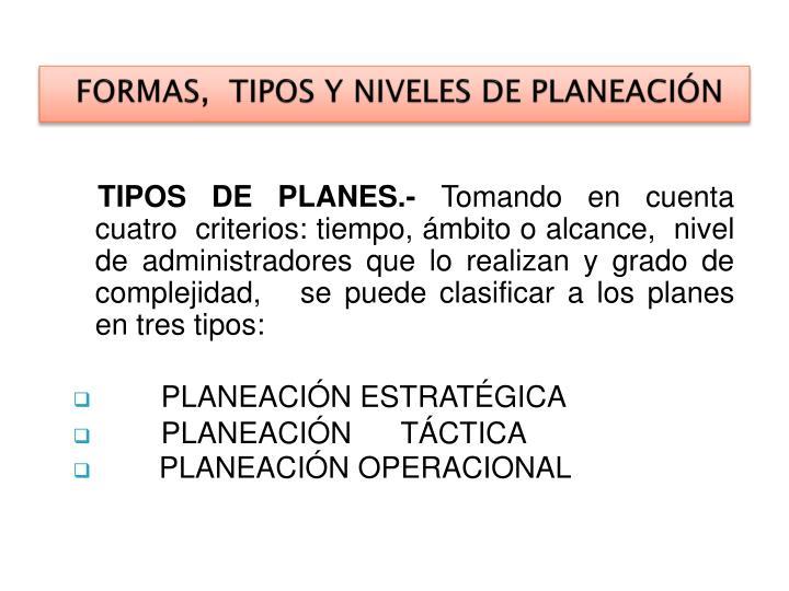 FORMAS,  TIPOS Y NIVELES DE PLANEACIÓN