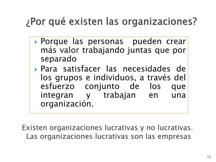 ¿Por qué existen las organizaciones?