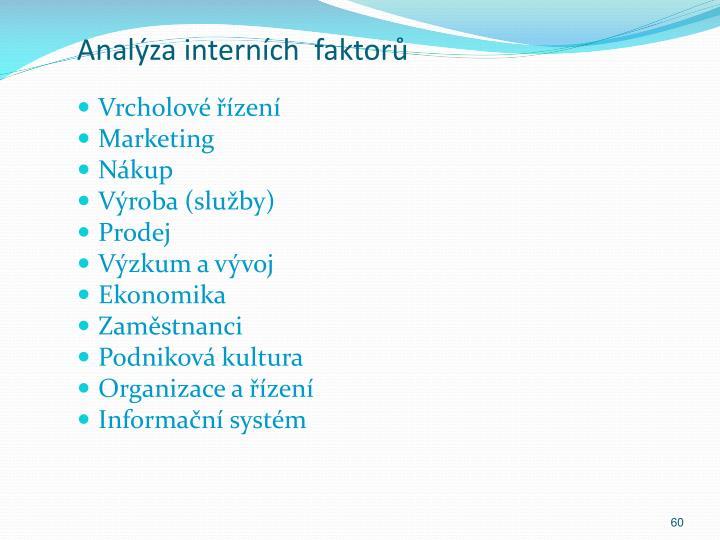 Analýza interních  faktorů