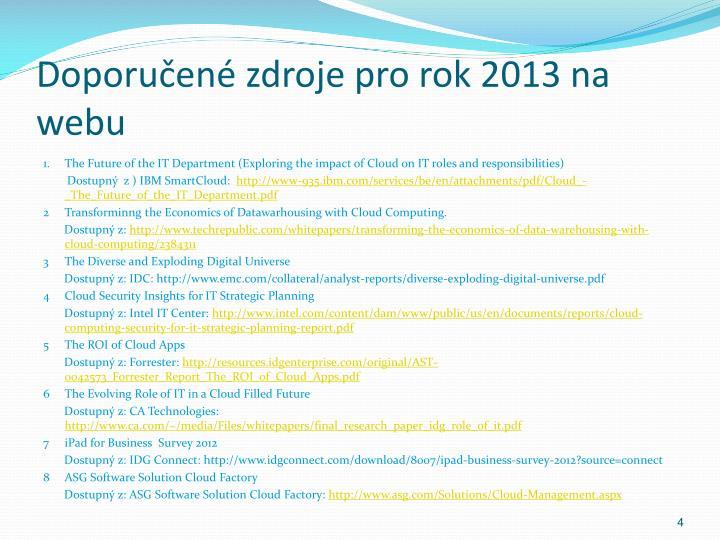 Doporučené zdroje pro rok 2013 na webu