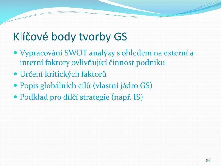 Klíčové body tvorby GS