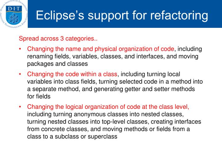 Eclipse's support for refactoring