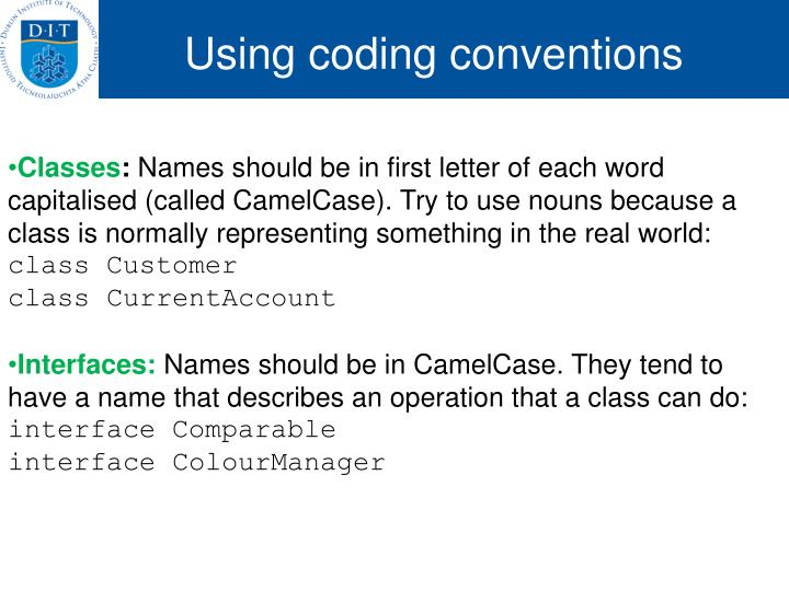 Using coding conventions