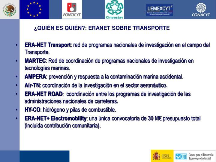 ¿Quién es quién?: ERANET sobre Transporte