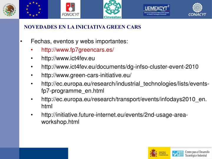 NOVEDADES EN LA INICIATIVA GREEN CARS