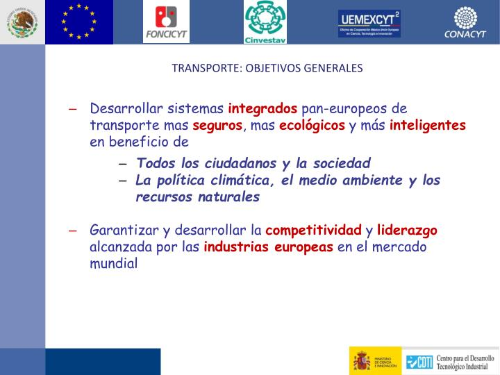 Transporte: Objetivos Generales