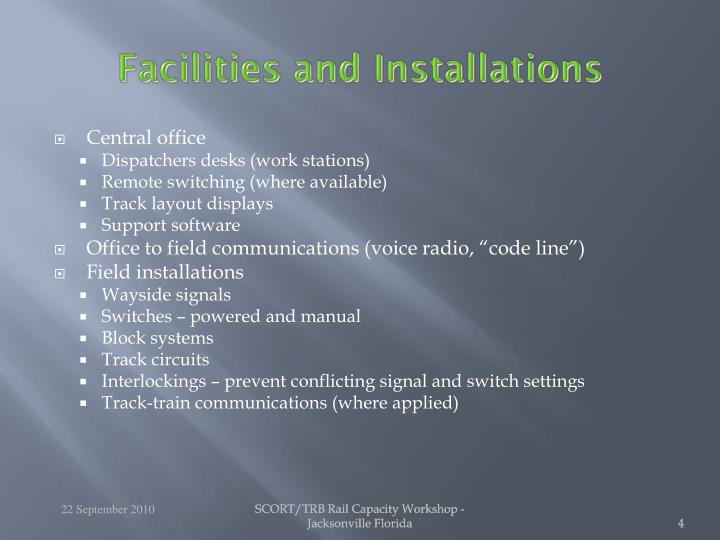 Facilities and Installations