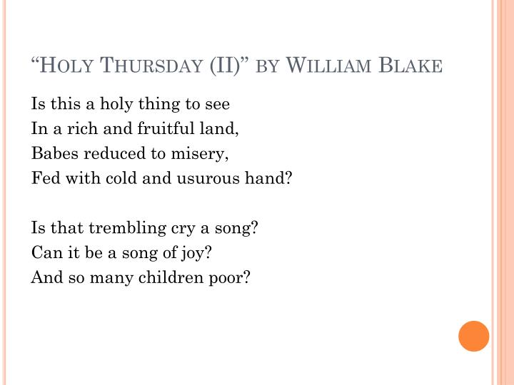"""Holy Thursday (II)"" by William Blake"