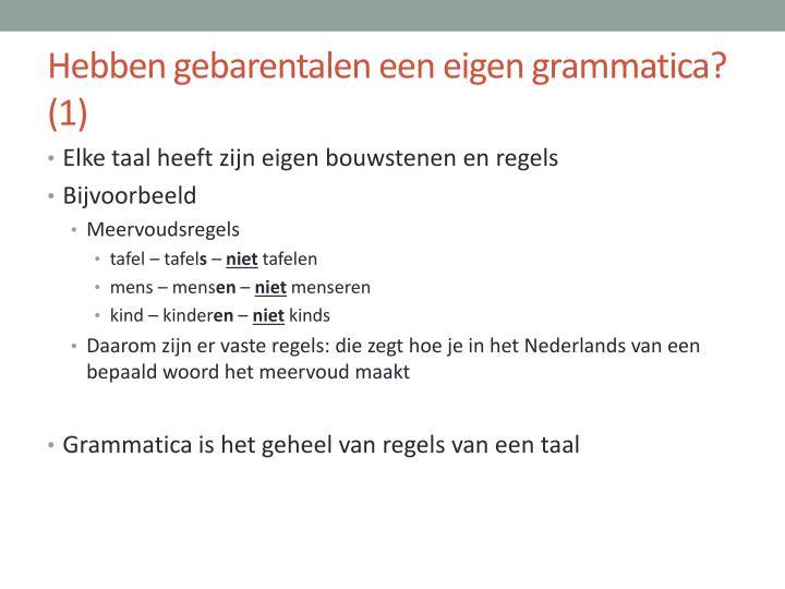 Hebben gebarentalen een eigen grammatica?