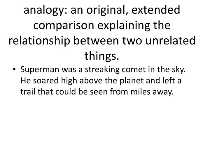 analogy: an original, extended comparison explaining the relationship between two unrelated things.