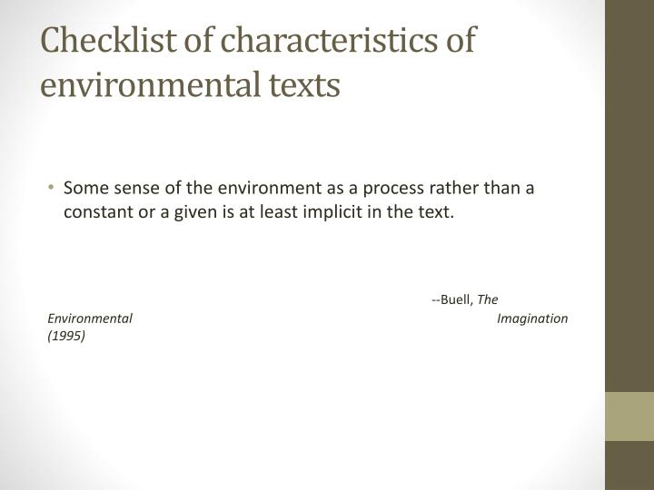 Checklist of characteristics of environmental texts