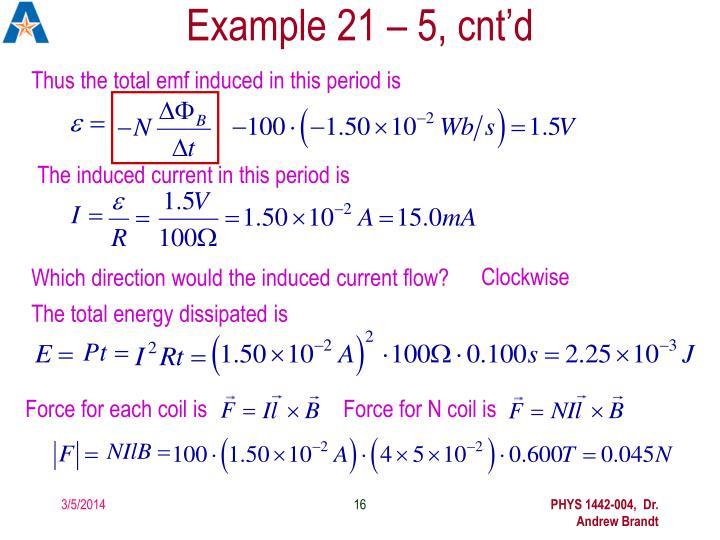 Example 21 – 5, cnt'd