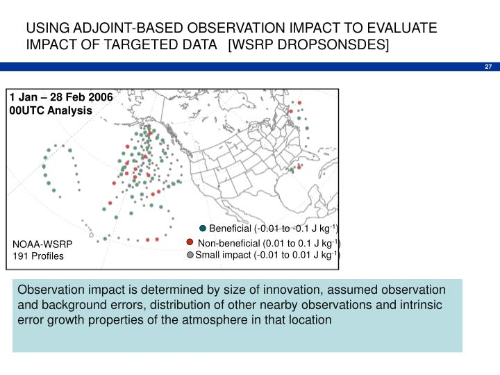 USING ADJOINT-BASED OBSERVATION IMPACT TO EVALUATE IMPACT OF TARGETED DATA   [WSRP DROPSONSDES]