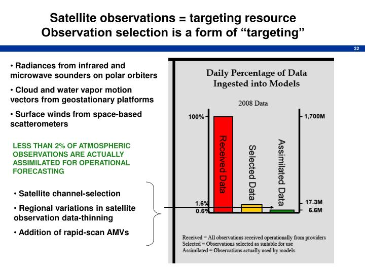 """Satellite observations = targeting resource   Observation selection is a form of """"targeting"""""""