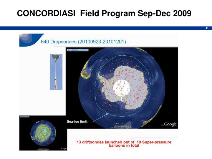 CONCORDIASI  Field Program Sep-Dec 2009