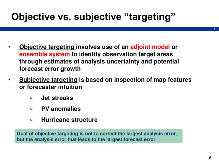 "Objective vs. subjective ""targeting"""