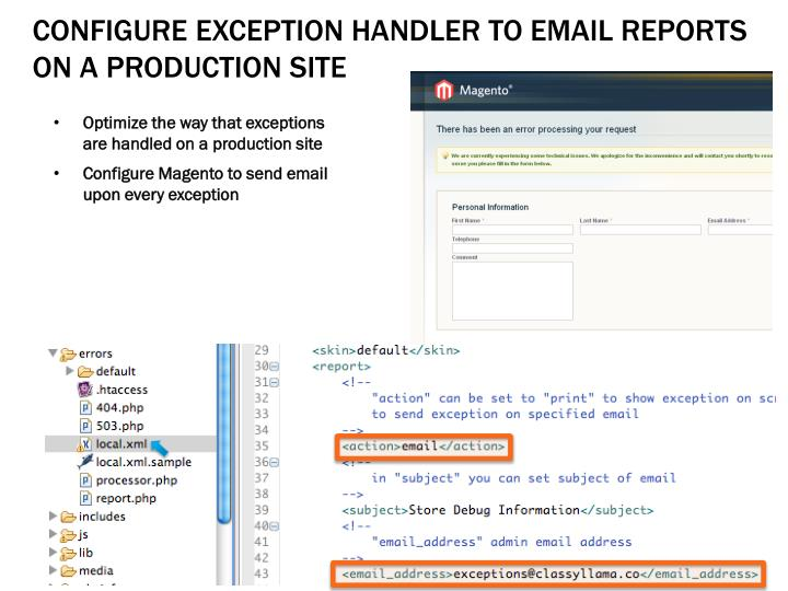 Configure Exception Handler To Email Reports ON a PRODUCTION Site
