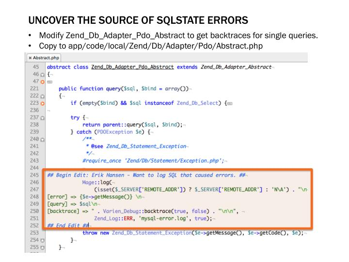 Uncover the source of SQLSTATE errors