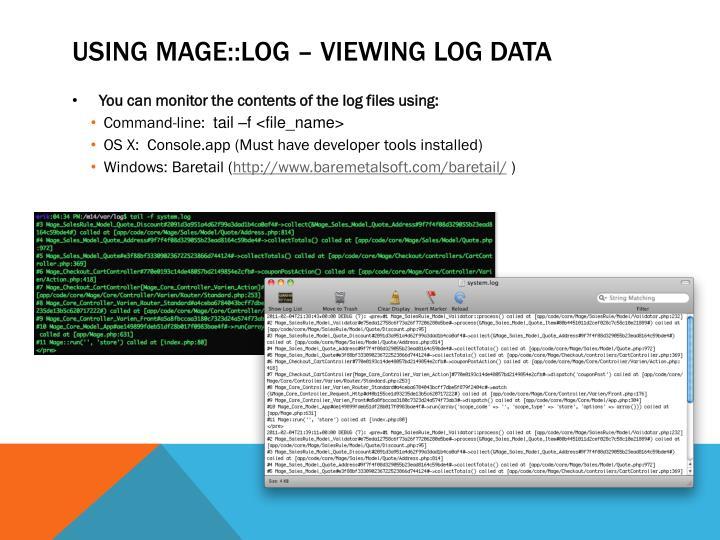 Using Mage::log –