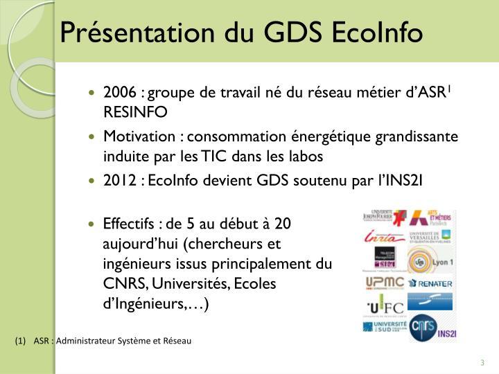 Présentation du GDS EcoInfo