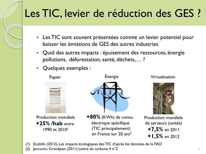 Les TIC, levier de réduction des GES ?